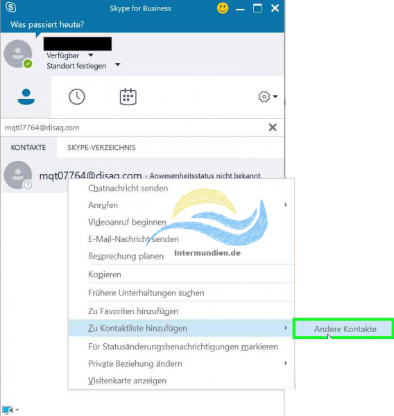 Office 365 Skype for Business Kontaktanfrage