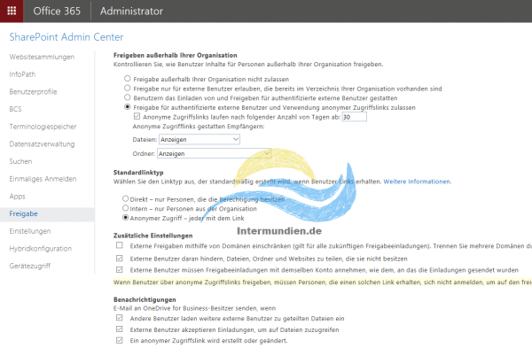 Office 365 SharePoint Freigabekonfiguration