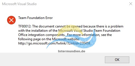 Office Team Toundation Add-In Error TF80012