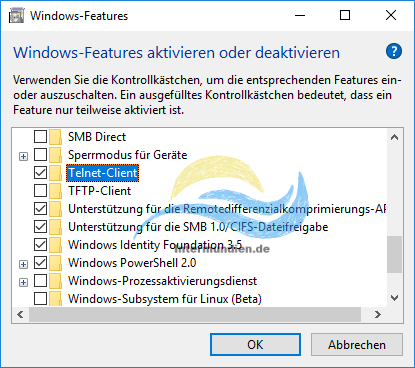 Windows Features Telnet-Client