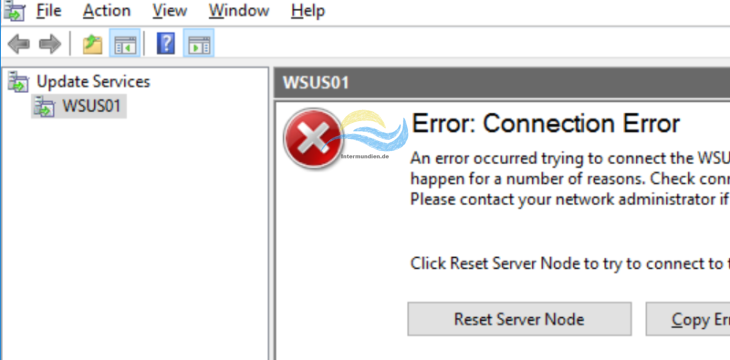 WSUS Connection Error