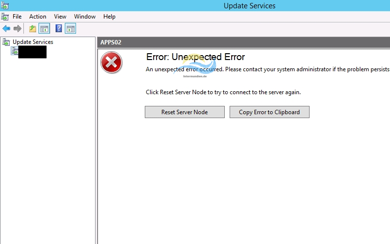 WSUS Unexpected Error