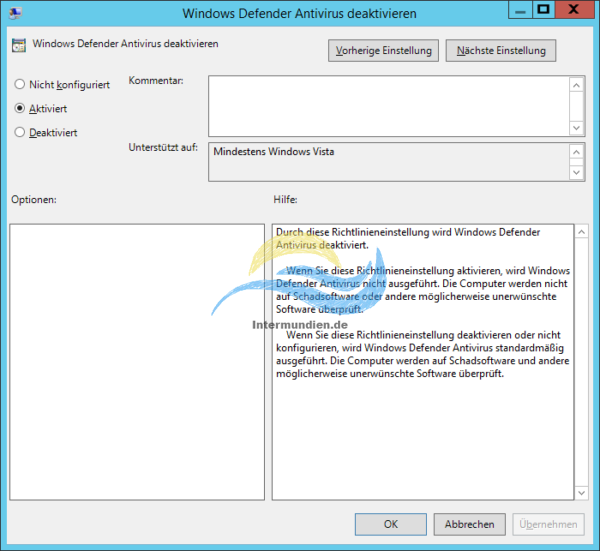 Windows Defender Antivirus deaktivieren