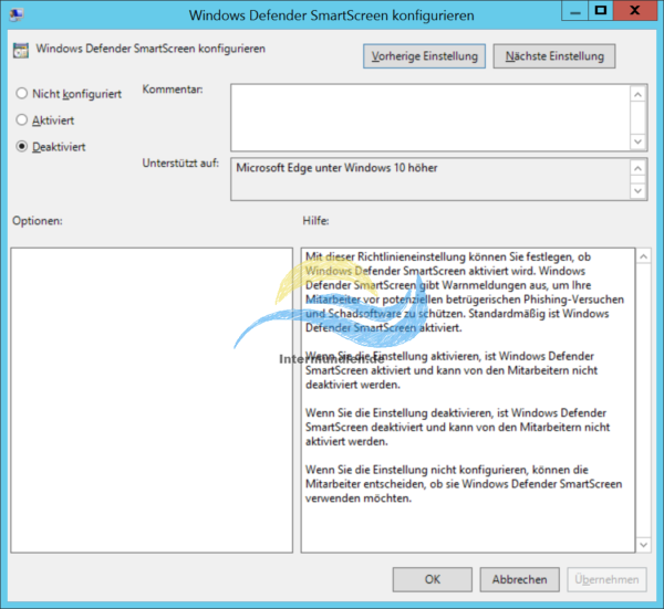 Windows Defender SmartScreen konfigurieren